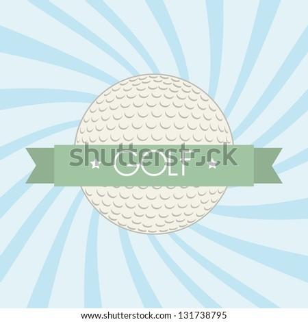 golf ball over blue background. vector illustration - stock vector