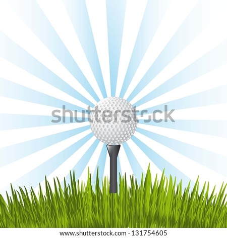 golf ball over blue background. vector illustration - stock vector