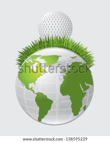 Golf ball over world over white background vector illustration - stock vector