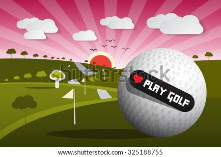 Golf Ball Vector Illustration on Field with Sun and Sky and Heart Shape Love Play Golf Title - stock vector
