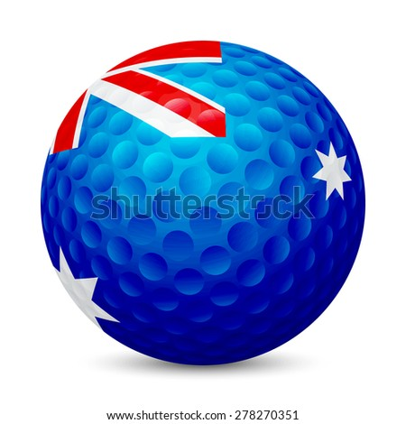 Golf ball with flag of Australia, , isolated on white background. Vector EPS10 illustration.  - stock vector