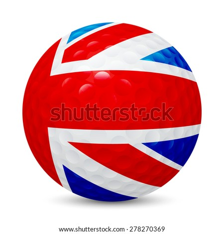Golf ball with flag of UK, , isolated on white background. Vector EPS10 illustration.  - stock vector