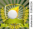Golf ball with flames banner  and wreath - stock vector