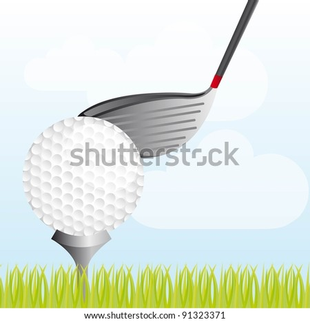 golf ball with golf club over grass vector illustration - stock vector