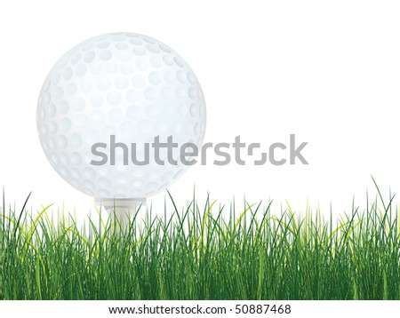 Golf Ball with Grass isolated on white background. Vector. - stock vector