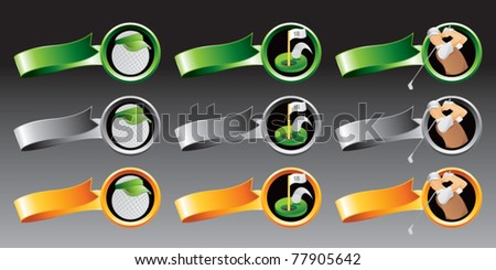 Golf ball with visor, hole in one shot, and golfer swinging club on multiple colored ribbons - stock vector