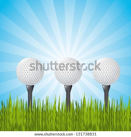 golf balls over landscape with grass. vector illustration