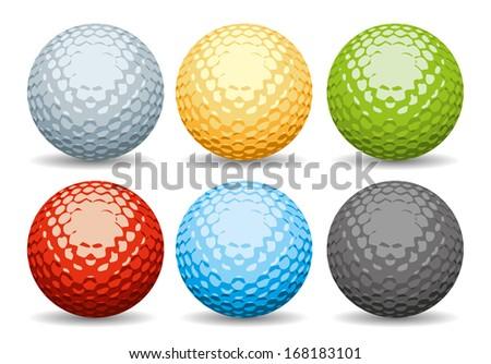 Golf Balls set - stock vector
