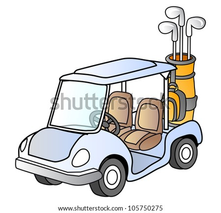Golf car; , sport vehicle; vector illustration; isolated - stock vector