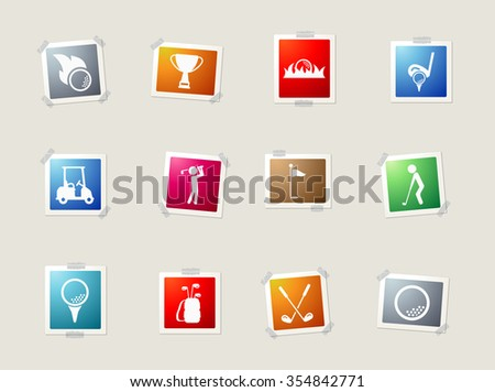 Golf card icons for web - stock vector