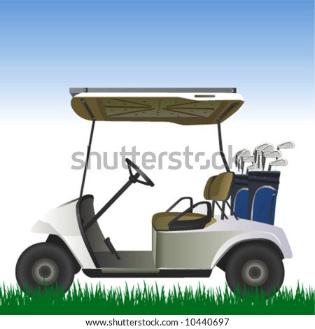 golf cart in the field vector - stock vector