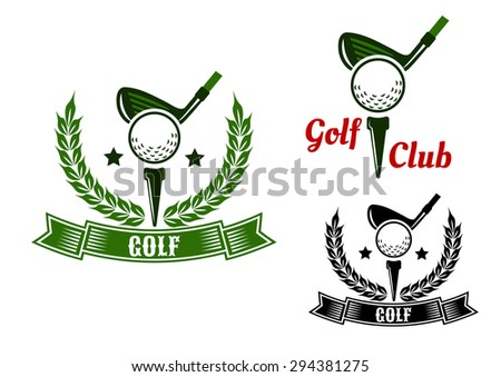 Golf club emblems or logo design with golf clubs ready to hit balls from tees adorned stars, laurel wreaths and ribbon banners