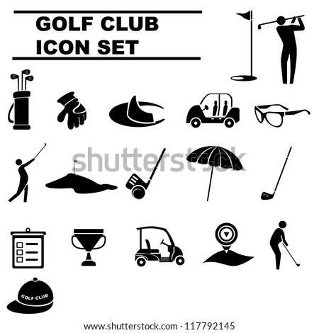 golf club, golf icon set - stock vector