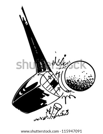 Golf Club Hitting Ball - Retro Clipart Illustration - stock vector