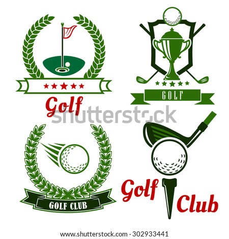 Golf club icons, emblems and symbols with flying ball, clubs, trophy cup and golf balls on field with flagstick and on starting position with tee.  Framed by wreaths, shield, stars and ribbon banners - stock vector