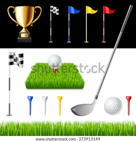 Golf club icons set isolated vector illustration - stock vector