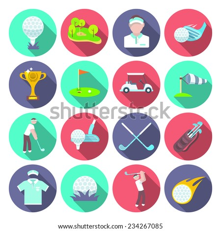 Golf club icons set set with sport inventory tournament player isolated vector illustration - stock vector