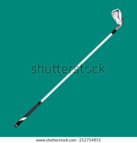 Golf club (iron) on green background - stock vector
