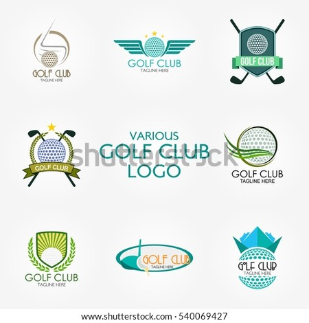 golf club logo design template flat stock vector 540069427