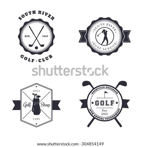 Golf Club, School, Shop, Tournament vintage emblems, logos, vector illustration, eps10, easy to edit - stock vector