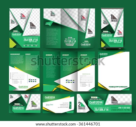 Golf Club Stationery Set Template. - stock vector