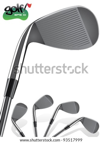 Golf Club Vector/Close up, realistic Iron Illustration - stock vector