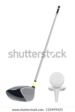 Golf clubs on white background