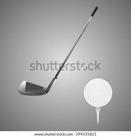 Golf clubs with a golf ball - stock vector