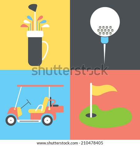 Golf collection / Vector illustration / Golf icons set / Flat design - stock vector