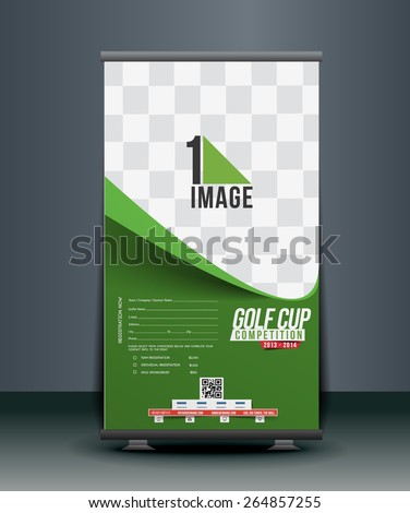 Golf Competition Roll Up Banner Design - stock vector