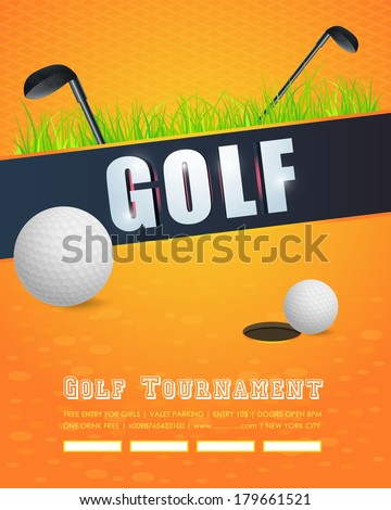 Golf Concept Flyer, Poster, Ad Design Vector Template - stock vector
