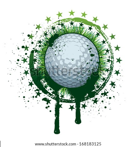 Golf Concept with ball,grass and grunge - stock vector