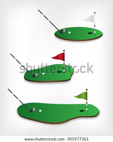 Golf course and stick - stock vector