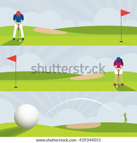 Golf Course Banner, Men and Women Putt, Swing