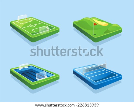 Golf course Football field Water polo field Volleyball field vector illustration cartoon. - stock vector