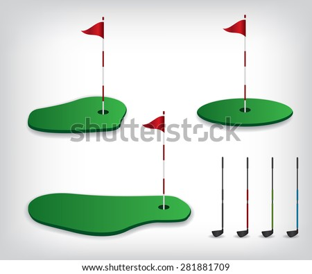 Golf course illustration - stock vector
