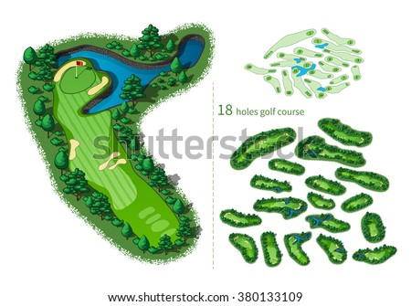 Golf course map 18 holes. Resort layout with flags trees plants water hazards. Vector map isometric illustration - stock vector