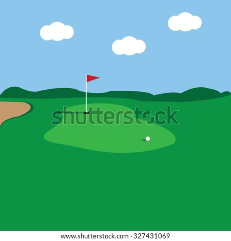 Golf course-vector - stock vector