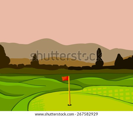 Golf course vector illustration with flag trees and plants - stock vector
