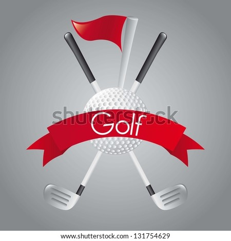 golf elements over gray background. vector illustration - stock vector