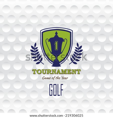 Golf. Emblems for golf with the cup. Retro label design. Postcard. Realistic rendition of golf ball texture closeup. Seamless background. Tournament poster. - stock vector