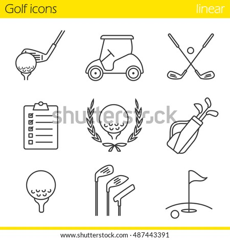 Golf equipment linear icons set. Ball on tee, golf cart, clubs, golfer's checklist, championship symbol, bag, course, flagstick in hole. Thin line. Isolated vector illustrations