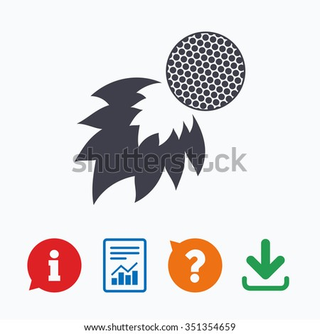 Golf fireball sign icon. Sport symbol. Information think bubble, question mark, download and report. - stock vector