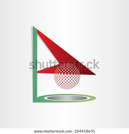 golf flag and ball golf hole abstract design element - stock vector