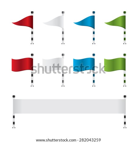 Golf flag and banner set - stock vector