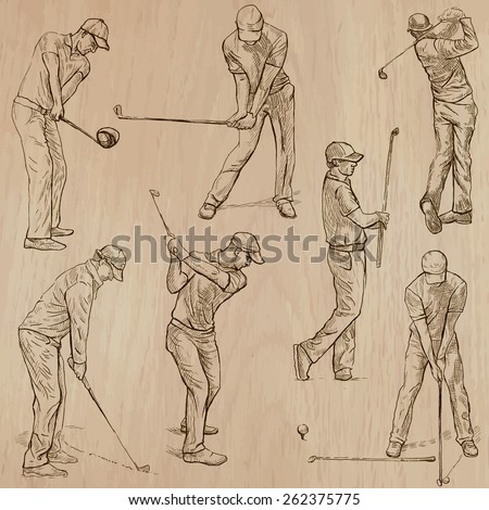 GOLF, Golfers, Golf , and Golf Equipment. Collection of an hand drawn illustrations (line art vectors - pack no.3). Each drawing comprises of three or four layers of lines, background is isolated. - stock vector