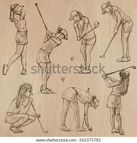 GOLF, Golfers, Golf , and Golf Equipment. Collection of an hand drawn illustrations (line art vectors - pack no.4). Each drawing comprises of three or four layers of lines, background is isolated. - stock vector