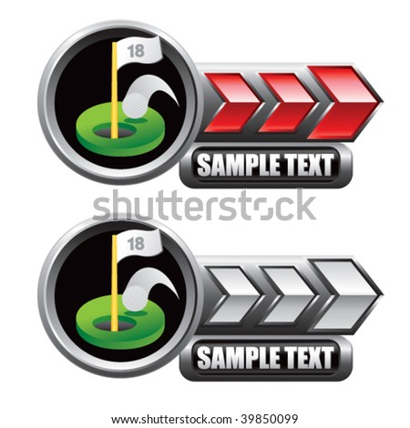 golf green on red and white arrow nameplate banners - stock vector