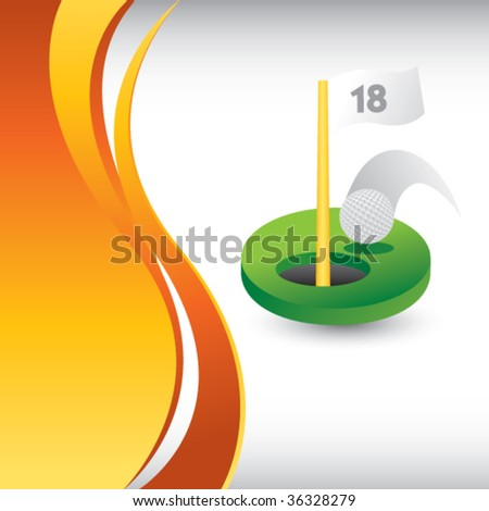 golf green on vertical orange wave background - stock vector