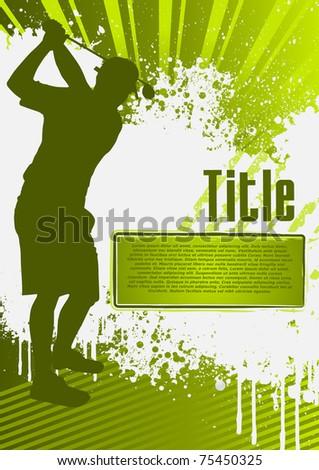 Golf Grunge Poster Template - stock vector